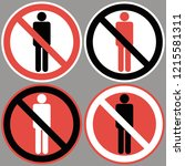 no men allowed.  a sign... | Shutterstock .eps vector #1215581311