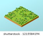 isometric 3d park with trees of ... | Shutterstock . vector #1215584194