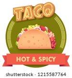 vector taco icon with retro... | Shutterstock .eps vector #1215587764