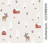 cute festive christmas seamless ... | Shutterstock .eps vector #1215588544