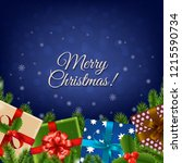 christmas retro card with... | Shutterstock .eps vector #1215590734