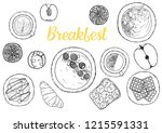 breakfasts ingredient top view. ...   Shutterstock .eps vector #1215591331