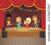 music kids band on concert... | Shutterstock . vector #1215601567
