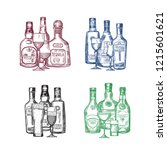 set of hand drawn alcohol... | Shutterstock . vector #1215601621