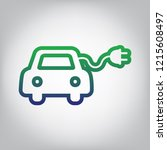 eco electric car sign. vector.... | Shutterstock .eps vector #1215608497