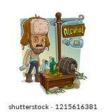 cartoon homeless alcoholic in... | Shutterstock .eps vector #1215616381