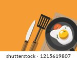 fried egg and tomato in frying... | Shutterstock .eps vector #1215619807