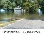road going under water after... | Shutterstock . vector #1215619921