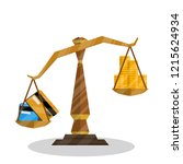 scales for weighing. comparison ... | Shutterstock .eps vector #1215624934