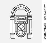 retro jukebox flat line  icon... | Shutterstock . vector #1215634294