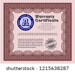 red retro vintage warranty... | Shutterstock .eps vector #1215638287