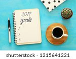 top view 2019 goals list with... | Shutterstock . vector #1215641221