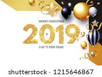 happy new 2019 year  shining... | Shutterstock .eps vector #1215646867