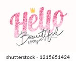 typography slogan with pink... | Shutterstock .eps vector #1215651424