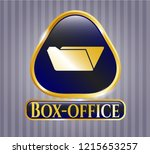 gold badge or emblem with... | Shutterstock .eps vector #1215653257