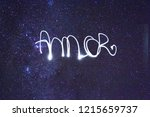 light painting saying i love... | Shutterstock . vector #1215659737