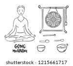 gong meditation stand with...   Shutterstock .eps vector #1215661717
