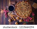 gingerbread tart with apples...   Shutterstock . vector #1215664294