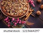 gingerbread tart with apples...   Shutterstock . vector #1215664297