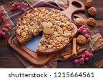 gingerbread tart with apples...   Shutterstock . vector #1215664561