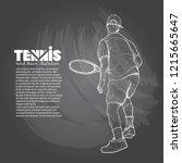 illustration set of tennis.... | Shutterstock .eps vector #1215665647