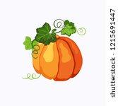 vector orange ripe pumpkin with ...   Shutterstock .eps vector #1215691447