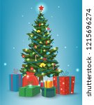 christmas tree with decorations ... | Shutterstock .eps vector #1215696274