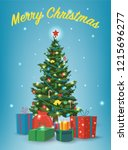 christmas tree with decorations ... | Shutterstock .eps vector #1215696277