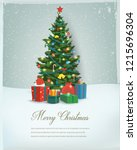 christmas tree with decorations ... | Shutterstock .eps vector #1215696304