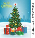 christmas tree with decorations ... | Shutterstock .eps vector #1215696364