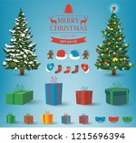 christmas and new year elements.... | Shutterstock .eps vector #1215696394