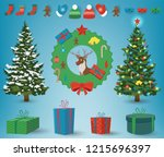 christmas and new year elements.... | Shutterstock .eps vector #1215696397