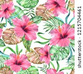 tropical floral pattern... | Shutterstock . vector #1215704461