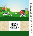 vector milk illustration with... | Shutterstock .eps vector #1215707191
