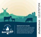 vector milk illustration with... | Shutterstock .eps vector #1215707194