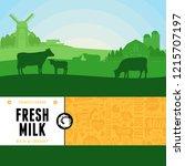 vector milk illustration with... | Shutterstock .eps vector #1215707197