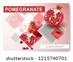 vector pomegranate.realistic... | Shutterstock .eps vector #1215740701