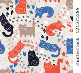 cute funny seamless pattern... | Shutterstock .eps vector #121575289