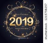 christmas golden background.... | Shutterstock .eps vector #1215758257