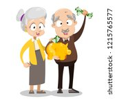 happy old couple with gold...   Shutterstock .eps vector #1215765577
