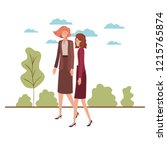 business women with landscape... | Shutterstock .eps vector #1215765874