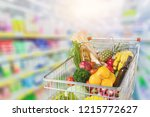 shopping cart filled with... | Shutterstock . vector #1215772627