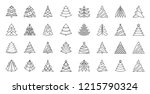 christmas tree thin line icons... | Shutterstock .eps vector #1215790324