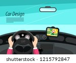 car interior design with hands... | Shutterstock .eps vector #1215792847