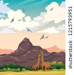 dinosaurs  mountains and... | Shutterstock .eps vector #1215793951
