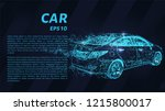 car of blue glowing dots. car... | Shutterstock .eps vector #1215800017