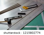 laminate installation tools | Shutterstock . vector #1215802774