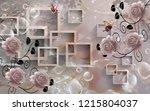 beautiful 3d rectangular floral ... | Shutterstock . vector #1215804037