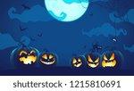 halloween pumpkins in the night | Shutterstock . vector #1215810691