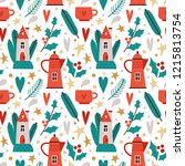 seamless vector pattern with... | Shutterstock .eps vector #1215813754